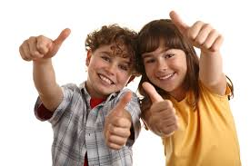 Kids with thumbs up